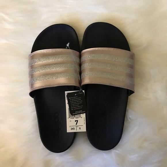 Adidas Pink Glitter Adilette Comfort